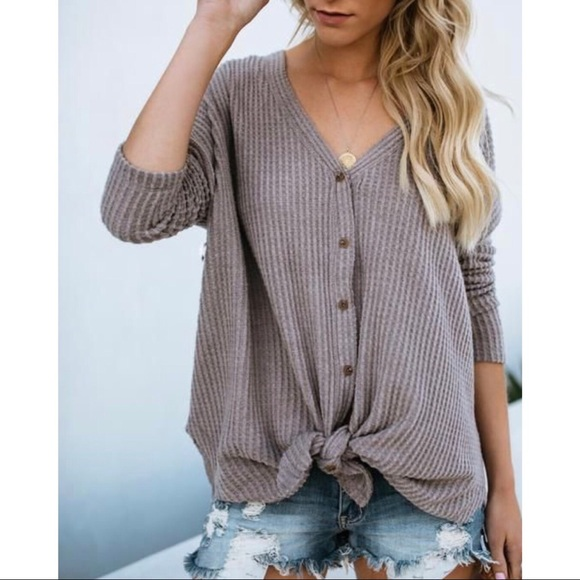 likeNarly Tops - Eve Button Down Thermal - Mocha